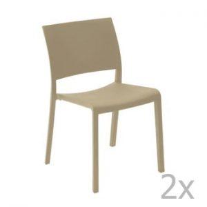 Set 2 scaune de grădină Resol Fiona, maro fistic