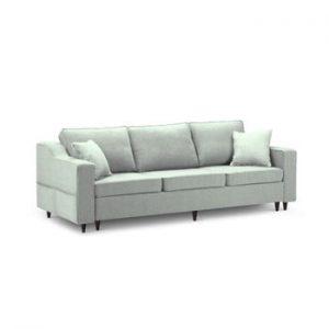 Canapea extensibilă cu 3 locuri și spațiu de depozitare Mazzini Sofas Narcisse, verde deschis