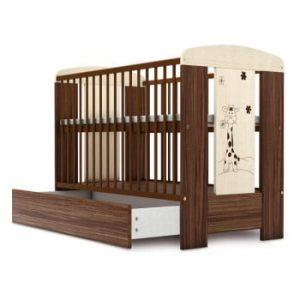 Pătuț pentru copii în nuanța lemnului cu sertar Faktum Makao, 60 x 120 cm