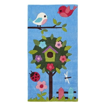 Covor țesut manual Think Rugs Tree Hong Kong, 70 x 140 cm, albastru