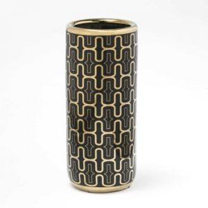 Suport din ceramică pentru umbrele Thai Natura, 21 x 47 cm, negru - auriu