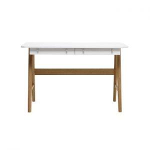 Birou din lemn de stejar alb Unique Furniture Turin