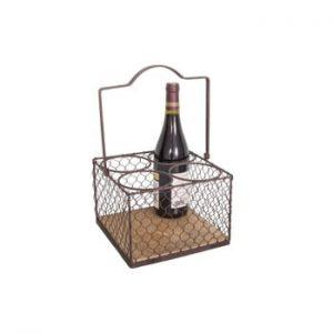 Suport metalic pentru 4 sticle Antic Line Lousain, negru