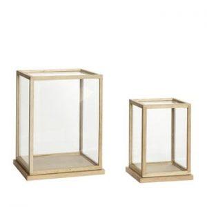 Set 2 cutii decorative pentru depozitare cu o construcție din lemn de stejar Hübsch Oak Display Tall