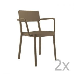 Set 2 scaune de grădină Resol Lisboa, maro ciocolată