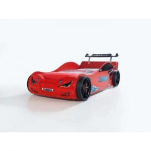 Pat în formă de automobil cu lumini LED pentru copii Eko, 90 x 190 cm, roșu