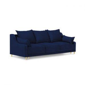 Canapea extensibilă cu 3 locuri și spațiu de depozitare Mazzini Sofas Pansy, albastru