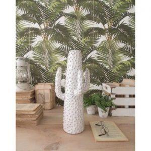 Statuetă din ceramică Orchidea Milano Cactus Summer In Greece, înălțime 40 cm, alb