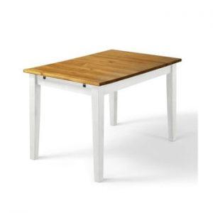 Masă din lemn de pin Støraa Daisy, 75 x 120 cm, picioare albe