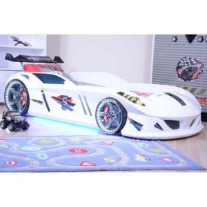 Pat în formă de automobil cu lumini LED pentru copii Speedy, 90 x 190 cm, alb