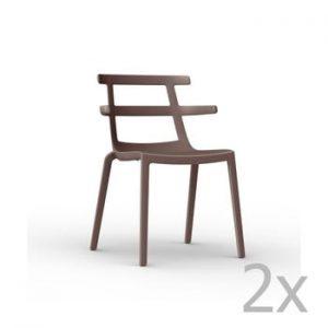 Set 2 scaune de grădină Resol Tokyo, maro ciocolată