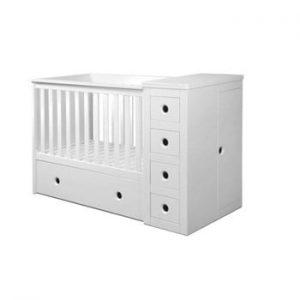 Pătuț pentru copii cu sertar BELLAMY Paso Doble,60x120cm, alb