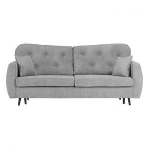 Canapea extensibilă cu 3 locuri și spațiu pentru depozitare Mazzini Sofas Popy, gri