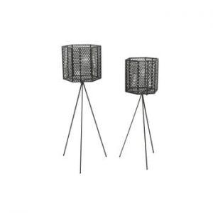 Set 2 suporturi metalice pentru ghiveci PT LIVING Hexagon, negru