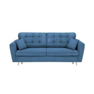 Canapea extensibilă cu 3 locuri și spațiu pentru depozitare Cosmopolitan Design Grenoble, albastru