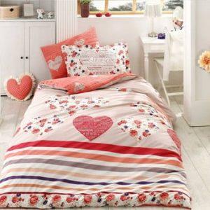 Lenjerie de pat și cearșaf din bumbac poplin Bella, 160 x 220 cm, roșu