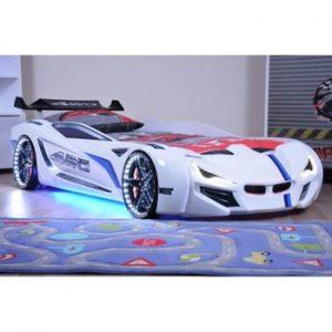Pat în formă de automobil cu lumini LED pentru copii Fastero, 90 x 190 cm, alb