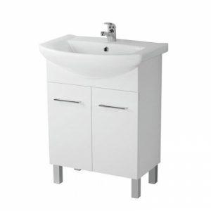 Mobilier cu usi pentru lavoar Libra picioare alb Cersanit Olivia 60 cm alb