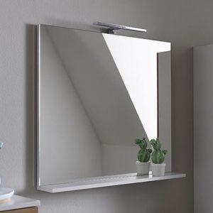 Oglinda cu polita alba KolpaSan Evelin 80 cm