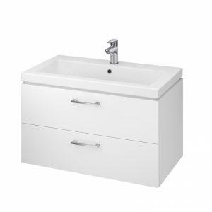Set lavoar alb mobilier cu 2 sertare Cersanit Lara alb 80x45 cm