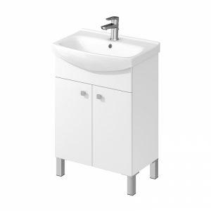 Set lavoar alb mobilier cu usi picioare alb Cersanit Sati 60 5 x 41 5 cm