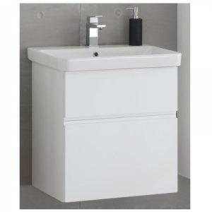 Set lavoar alb mobilier cu sertare alb mat KolpaSan Oxana 60 cm