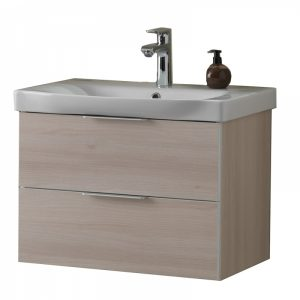 Set lavoar alb mobilier cu sertare lemn deschis KolpaSan Lana II 65 cm