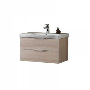 Set lavoar alb mobilier cu sertare lemn deschis KolpaSan Lana II 80 cm