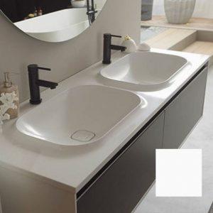 Set mobilier baza alb cu 2 lavoare compozit KolpaSan Pandora 150 cm