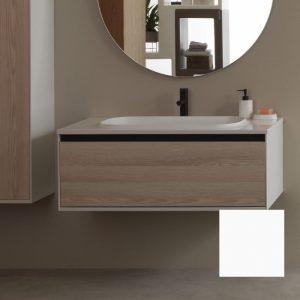 Set mobilier baza alb cu lavoar compozit KolpaSan Pandora 110 cm