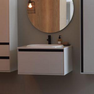 Set mobilier baza alb cu lavoar compozit KolpaSan Pandora 75 cm
