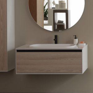 Set mobilier baza lemn natur cu lavoar compozit KolpaSan Pandora 110 cm