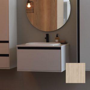 Set mobilier baza lemn natur cu lavoar compozit KolpaSan Pandora 75 cm