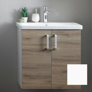 Set mobilier baza suspendat alb cu lavoar ceramic KolpaSan Evelin 65 cm