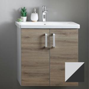 Set mobilier baza suspendat gri antracit cu lavoar ceramic KolpaSan Evelin 65 cm