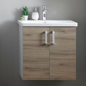 Set mobilier baza suspendat gri stejar cu lavoar ceramic KolpaSan Evelin 65 cm