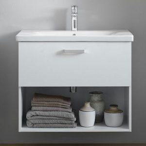Set mobilier baza suspendat alb 1 sertar cu lavoar ceramic KolpaSan Evelin 65 cm
