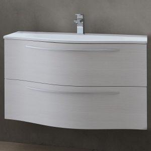 Set mobilier cu sertare alb mat lavoar alb KolpaSan Nayra 120 cm