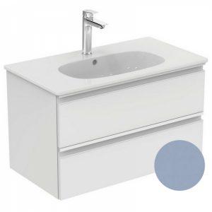 Set mobilier suspendat si lavoar Ideal Standard Tesi 80 cm albastru mat