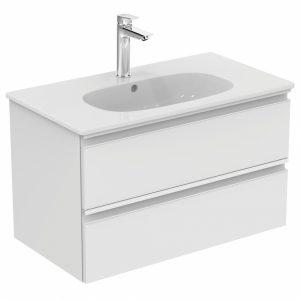 Set mobilier suspendat si lavoar Ideal Standard Tesi 80 cm alb lucios
