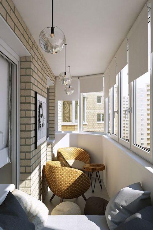 amenajare balcon inchis cu mobilier modern