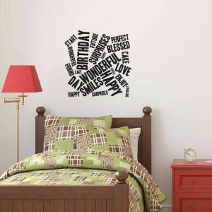 Sticker decorativ de perete Pushy, 246PHY7044, Negru