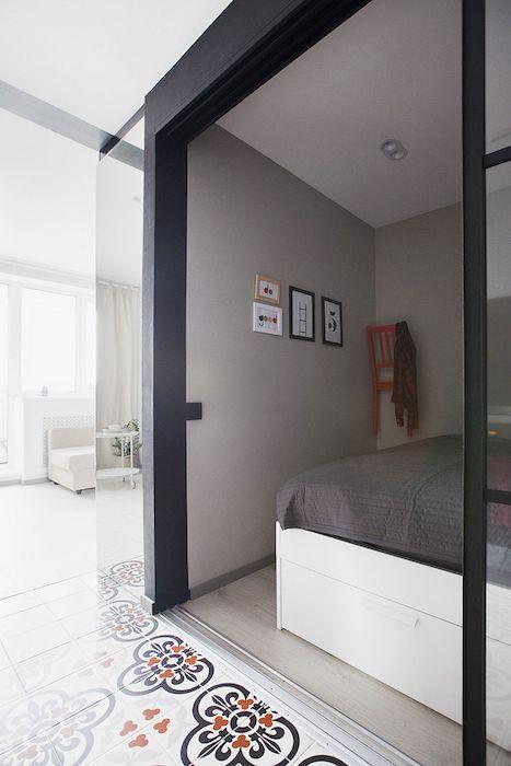 amenajare dormitor in garsoniera de 35 mp moderna