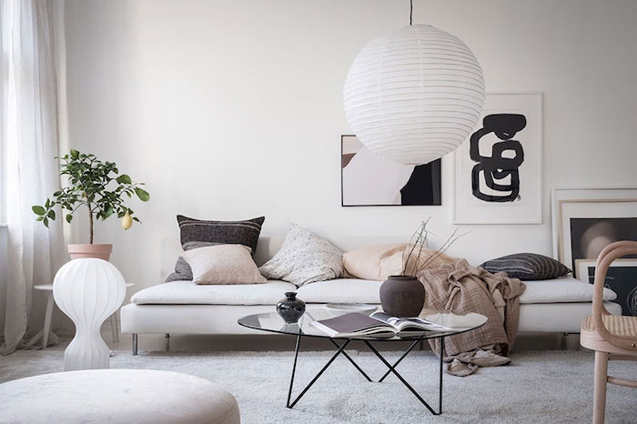 amenajare living in stil scandinav cu mobilier in stil scandinav