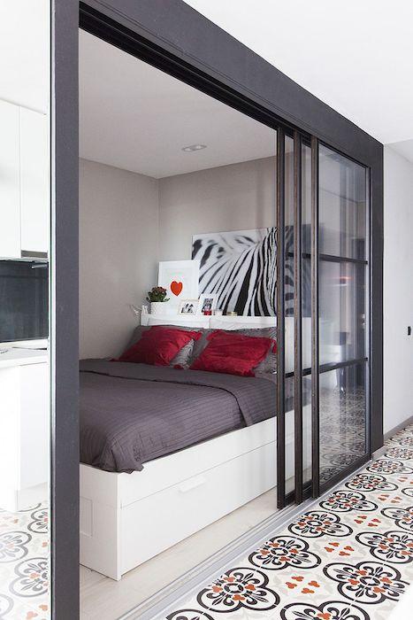 idee amenajare dormitor mic in garsoniera de 35 mp