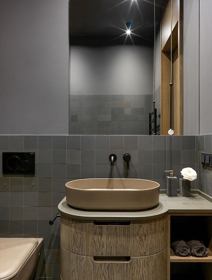 idei amenajare mobilier baie in garsoniera eleganta