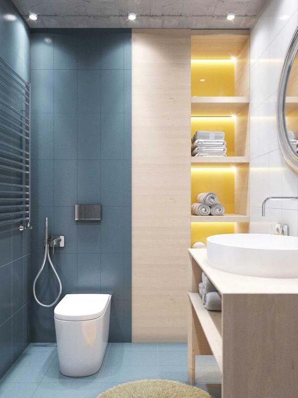 idee amenajare baie moderna cu faianta albastra