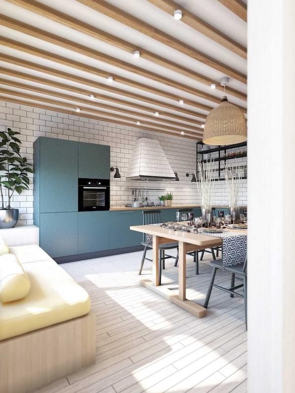 idee amenajare bucatarie cu grinzi din lemn si parchet intr-un dormitor industrial