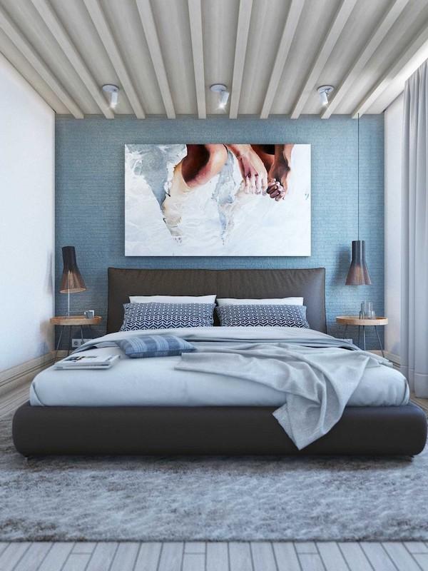 idee amenajare dormitor modern cu tablou deasupra patului