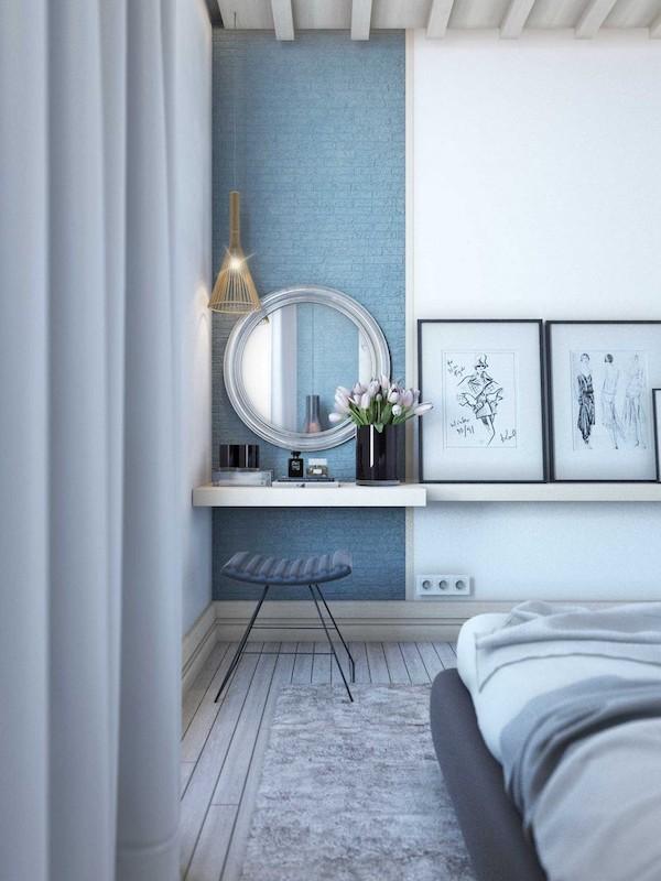 idee loc de machiaj in dormitor cu oglinda rotunda